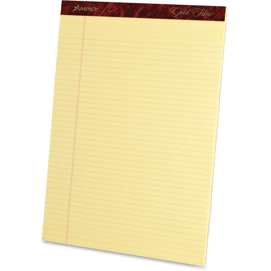 """Ampad Ampad Gold Fibre Narrow Rule Writing Pads - 50 Sheets - Watermark - Stapled/Glued - 0.25"""" Ruled - 16 lb Basis Weight - 8 1/2"""" x 11 3/4"""" - Canary Yellow Paper - Micro Perforated, Bleed-free, Chip. Picture 4"""
