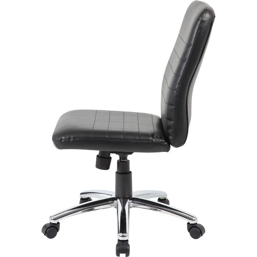 Boss B430 Task Chair - Black Vinyl Seat - Black Vinyl Back - Chrome, Black Chrome Frame - 5-star Base - 1 Each. Picture 8