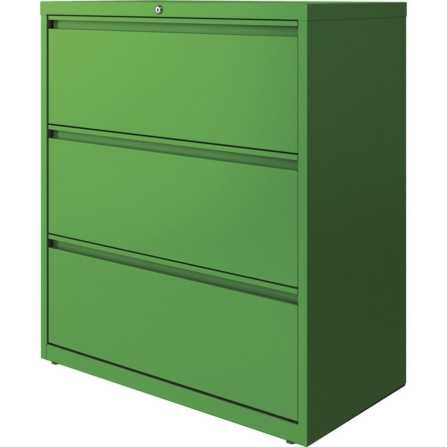 "Lorell 3-drawer Lateral File - 36"" x 18.8"" x 40.3"" - 3 x Drawer(s) for File - Letter, Legal, A4 - Lateral - Hanging Rail, Label Holder, Durable, Nonporous Surface, Removable Lock, Locking Bar, Pull-ou. Picture 5"