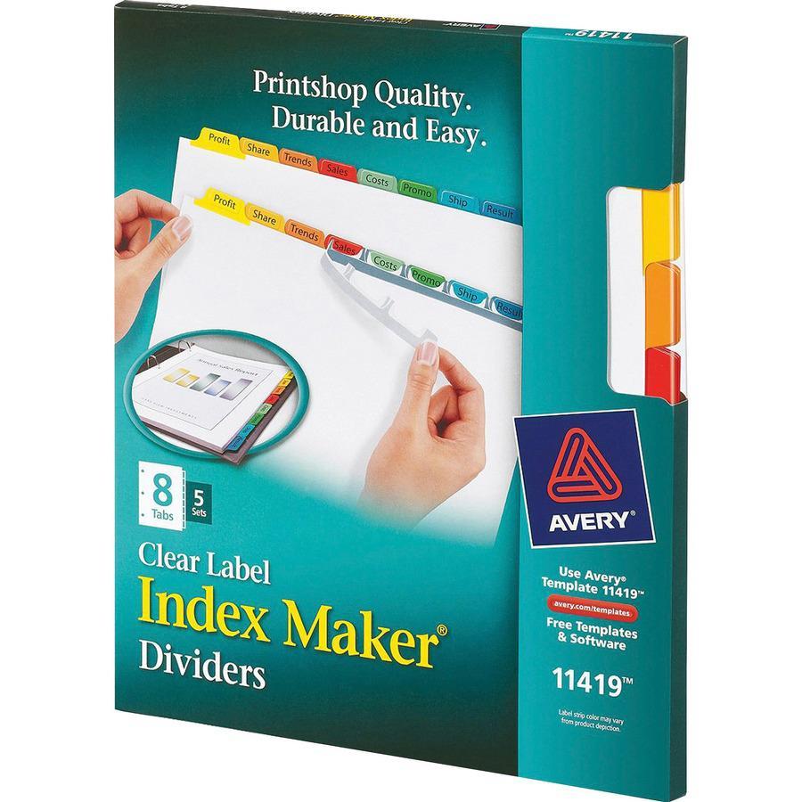 "Avery® Index Maker Index Divider - 40 x Divider(s) - 8 - 8 Tab(s)/Set - 8.5"" Divider Width x 11"" Divider Length - 3 Hole Punched - White Paper Divider - Multicolor Paper Tab(s) - 5 / Set. Picture 4"