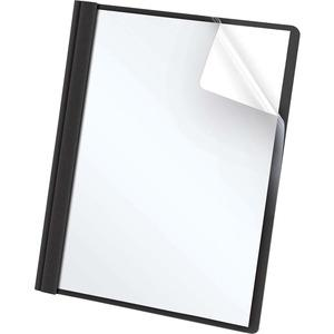 """Oxford Letter Report Cover - 8 1/2"""" x 11"""" - 100 Sheet Capacity - 3 x Tang Fastener(s) - 1/2"""" Fastener Capacity for Folder - Leatherette - Black, Clear - 25 / Box. Picture 7"""