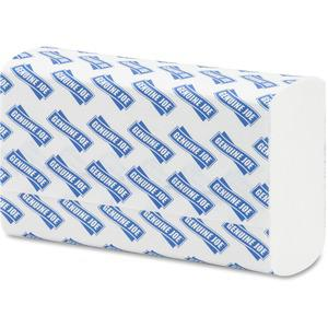 """Genuine Joe Multifold Towels - 1 Ply - 9.20"""" x 9.40"""" - White - Interfolded, Embossed, Anti-contamination, Chlorine-free - For Restroom, Public Facilities - 250 Quantity Per Bundle - 4000 / Carton. Picture 2"""