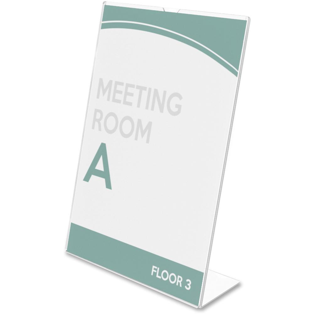 """Deflecto Superior Image Slanted Sign Holders - 1 Each - 7"""" Width x 5"""" Height - Top Loading - Plastic - Clear. Picture 2"""