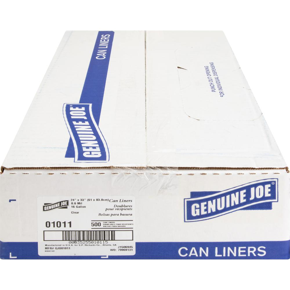 """Genuine Joe Clear Trash Can Liners - Small Size - 16 gal - 24"""" Width x 33"""" Length x 0.60 mil (15 Micron) Thickness - Low Density - Clear - 500/Carton. Picture 4"""