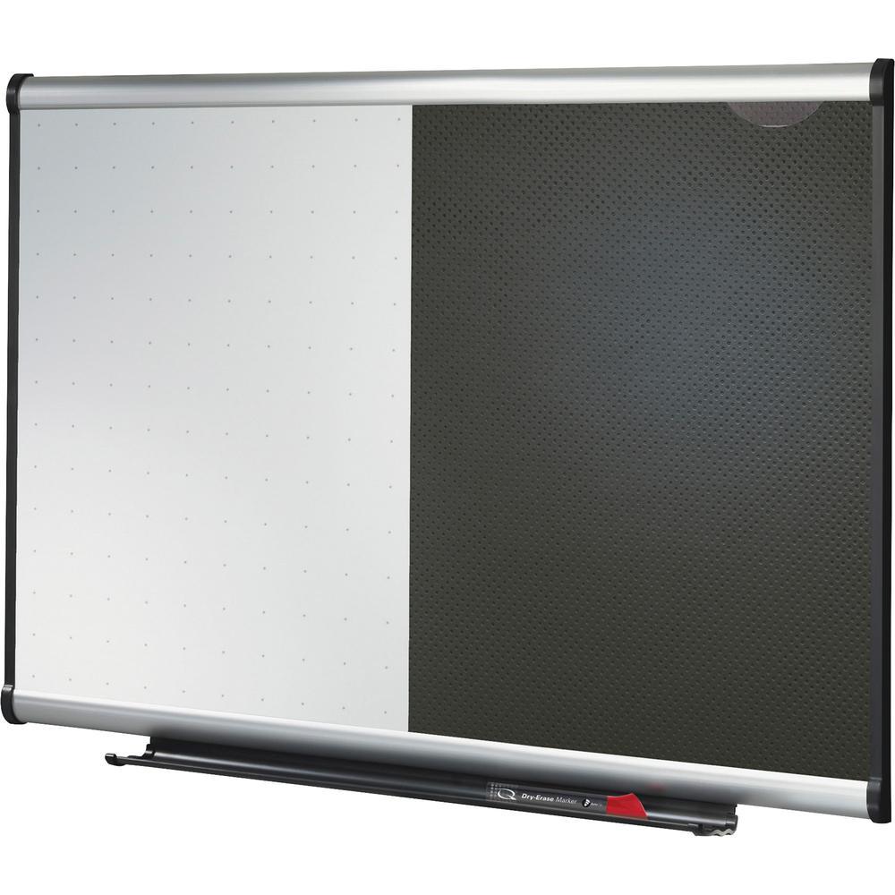 "Quartet Prestige Combination Board - 36"" (3 ft) Width x 24"" (2 ft) Height - Black Foam Surface - Silver Aluminum Frame - Horizontal - 1 / Each. Picture 2"