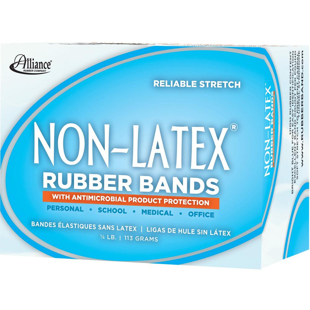 "Alliance Rubber 42199 Non-Latex Rubber Bands with Antimicrobial Protection - Size #19 - 1/4 lb. box contains approx. 360 bands - 3 1/2"" x 1/16"" - Cyan blue. Picture 2"