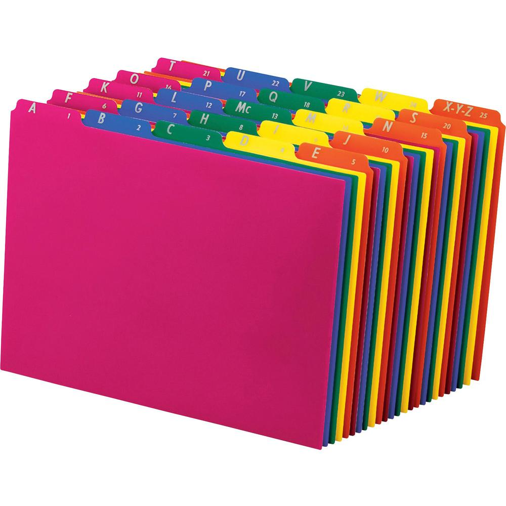"""Pendaflex Top Tab Assorted A-Z File Guides - 5 Printed Tab(s) - Character - A-Z - 8.5"""" Divider Width x 11"""" Divider Length - Letter - Blue Polypropylene, Green, Yellow, Magenta, Strawberry Tab(s) - 25 . Picture 3"""