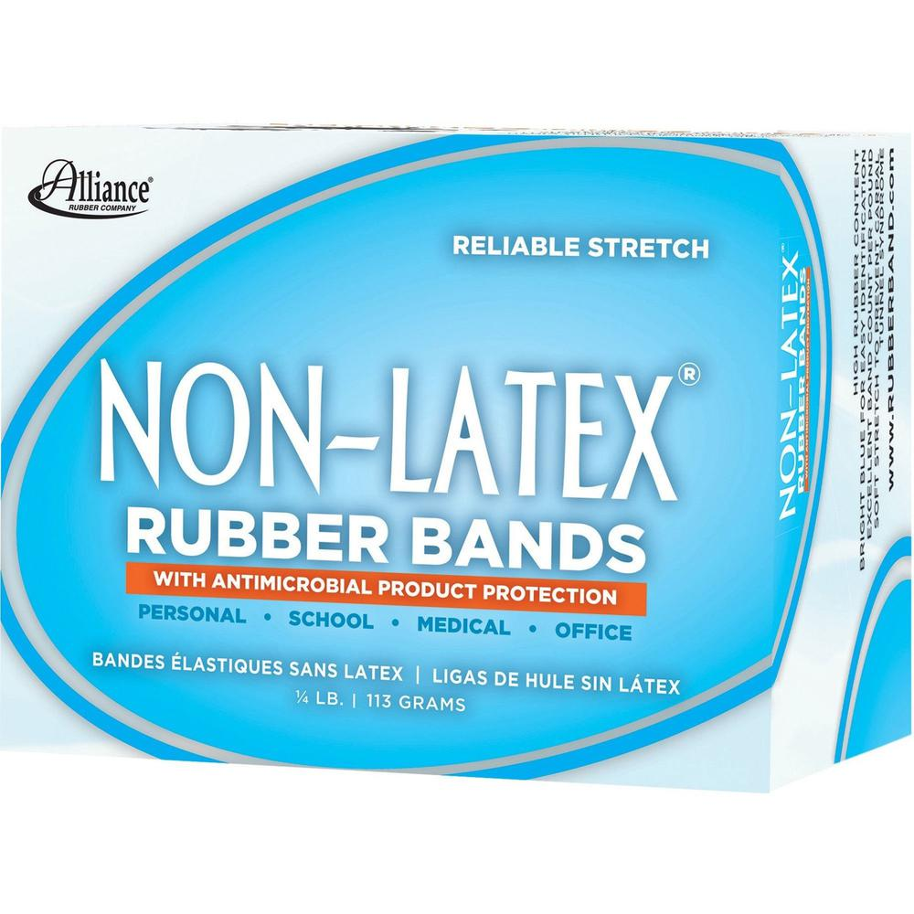 "Alliance Rubber 42549 Non-Latex Rubber Bands with Antimicrobial Protection - Assorted sizes (#54) - 1/4 lb. assorted box - #19 (3 1/2"" x 1/16""), #33 (3 1/2"" x 1/8""), #64 (3 1/2"" x 1/4"") - Cyan blue. Picture 3"
