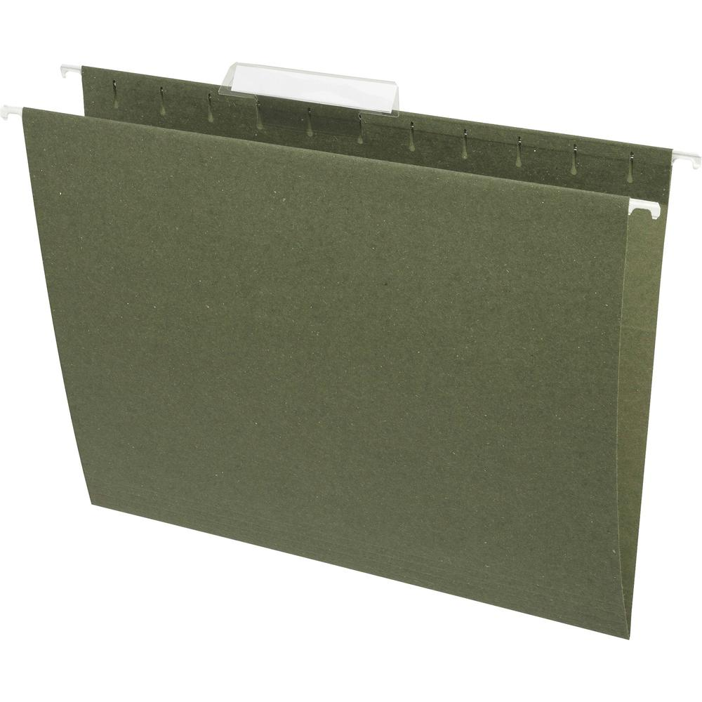 "Business Source 1/3 Cut Standard Hanging File Folders - Letter - 8 1/2"" x 11"" Sheet Size - 1/3 Tab Cut - 11 pt. Folder Thickness - Standard Green - Recycled - 25 / Box. Picture 2"