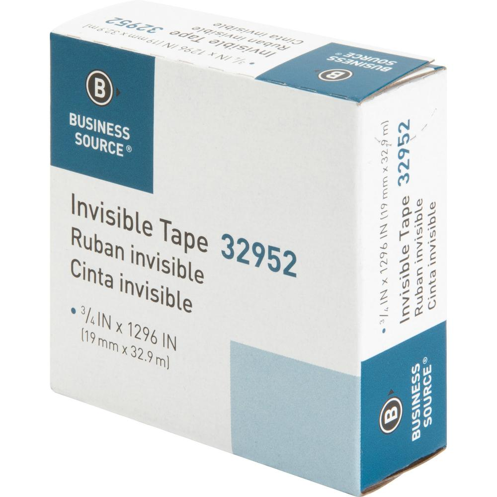 """Business Source Invisible Tape Dispenser Refill Roll - 36 yd Length x 0.75"""" Width - 1"""" Core - 1 Roll - Clear. Picture 12"""