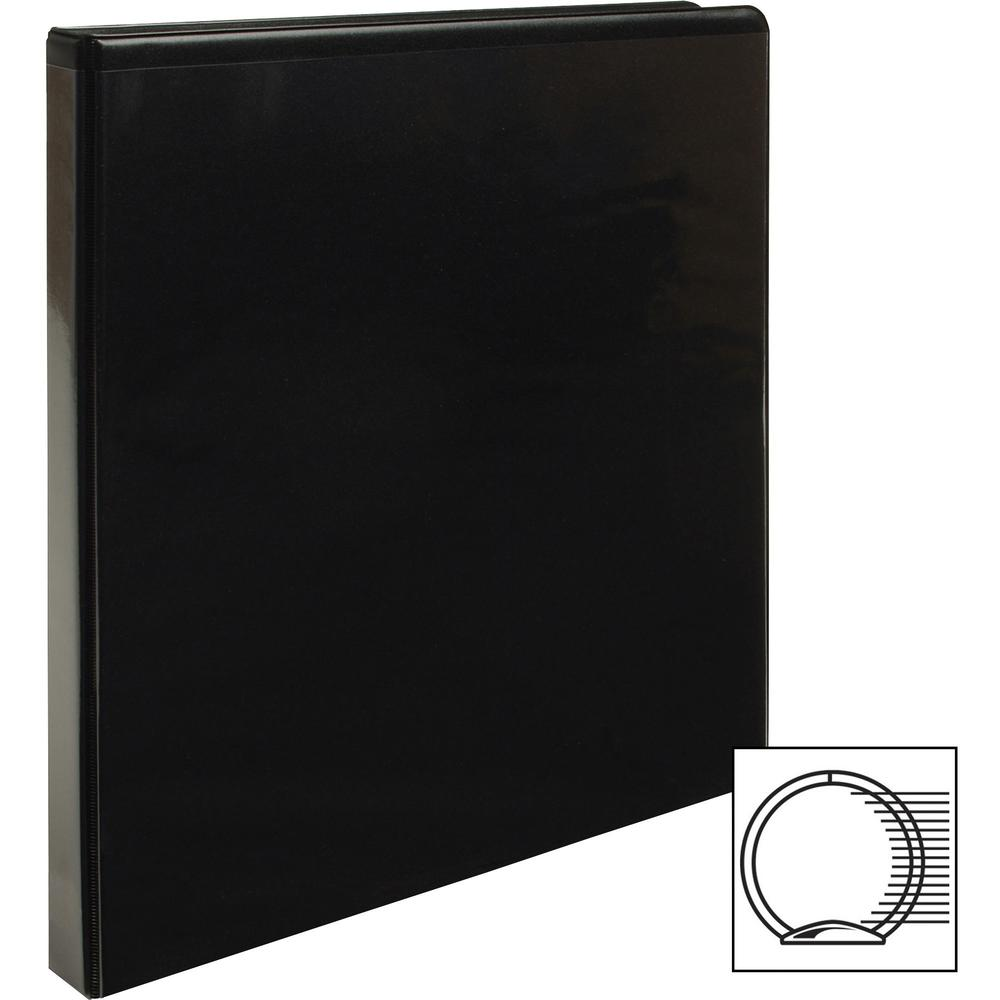 "Business Source Round-ring View Binder - 1/2"" Binder Capacity - Letter - 8 1/2"" x 11"" Sheet Size - 125 Sheet Capacity - Round Ring Fastener(s) - 2 Internal Pocket(s) - Polypropylene - Black - Wrinkle-. Picture 9"