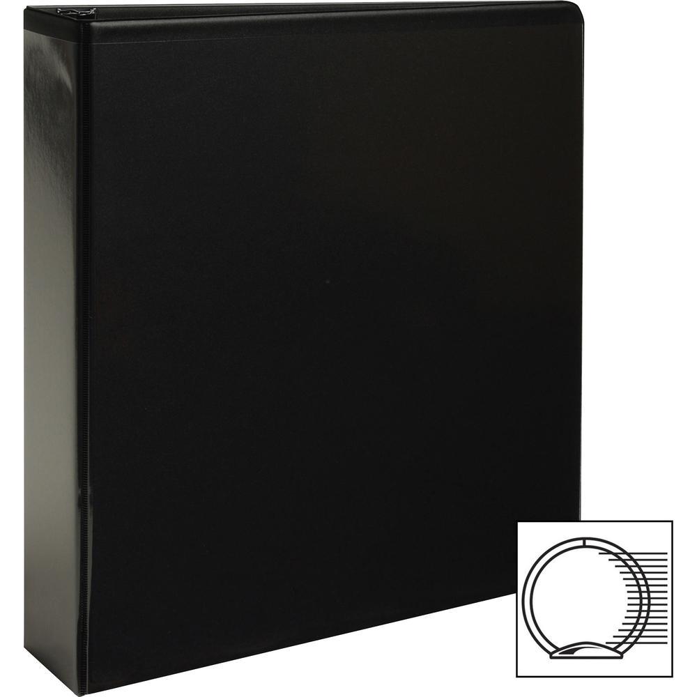 "Business Source Round-ring View Binder - 2"" Binder Capacity - Letter - 8 1/2"" x 11"" Sheet Size - 475 Sheet Capacity - Round Ring Fastener(s) - 2 Internal Pocket(s) - Polypropylene - Black - Wrinkle-fr. Picture 6"