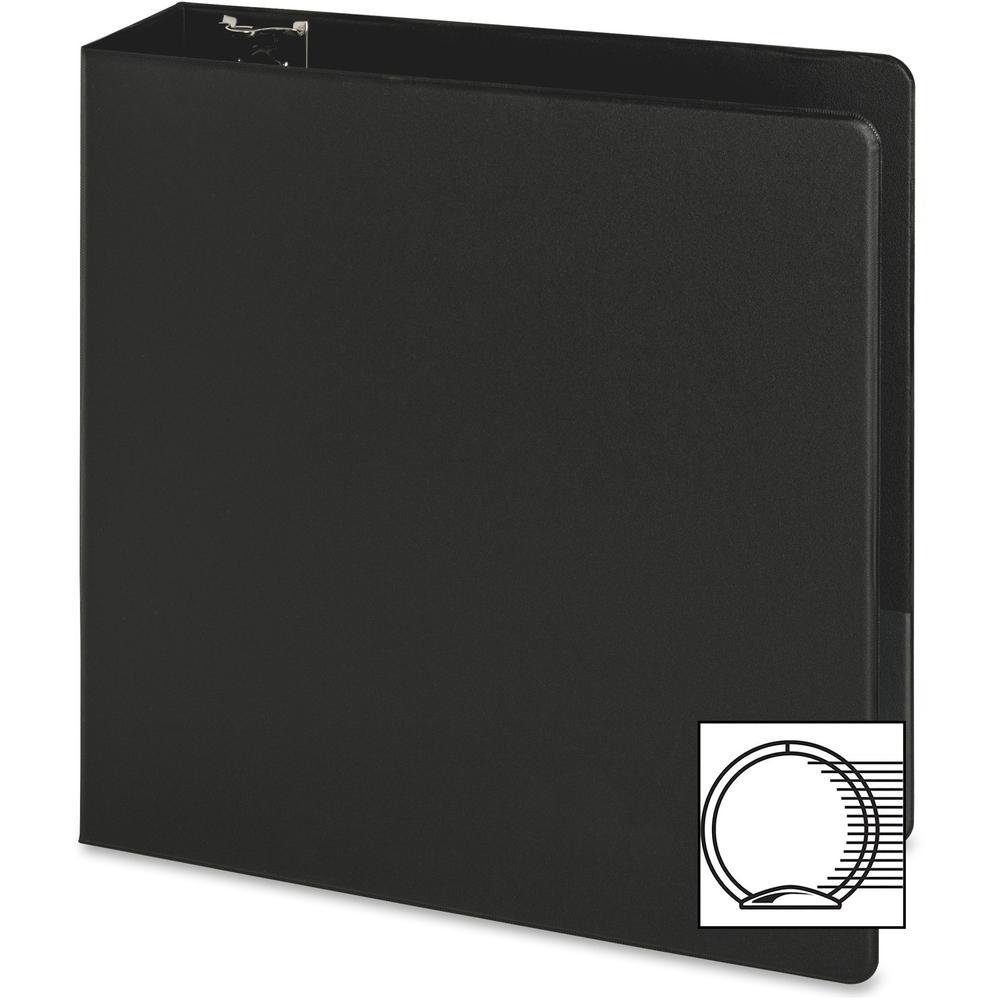 "Business Source Basic Round-ring Binder - 3"" Binder Capacity - Letter - 8 1/2"" x 11"" Sheet Size - 3 x Round Ring Fastener(s) - Inside Front & Back Pocket(s) - Vinyl - Black - 1.20 lb - Exposed Rivet, . Picture 2"