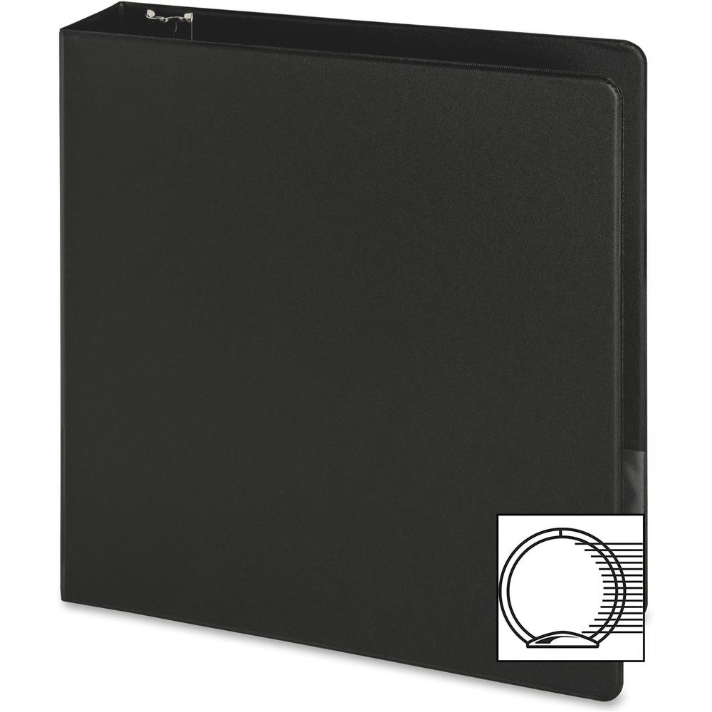 "Business Source Basic Round-ring Binder - 2"" Binder Capacity - Letter - 8 1/2"" x 11"" Sheet Size - 3 x Round Ring Fastener(s) - Inside Front & Back Pocket(s) - Vinyl - Black - 1 lb - Recycled - Exposed. Picture 2"