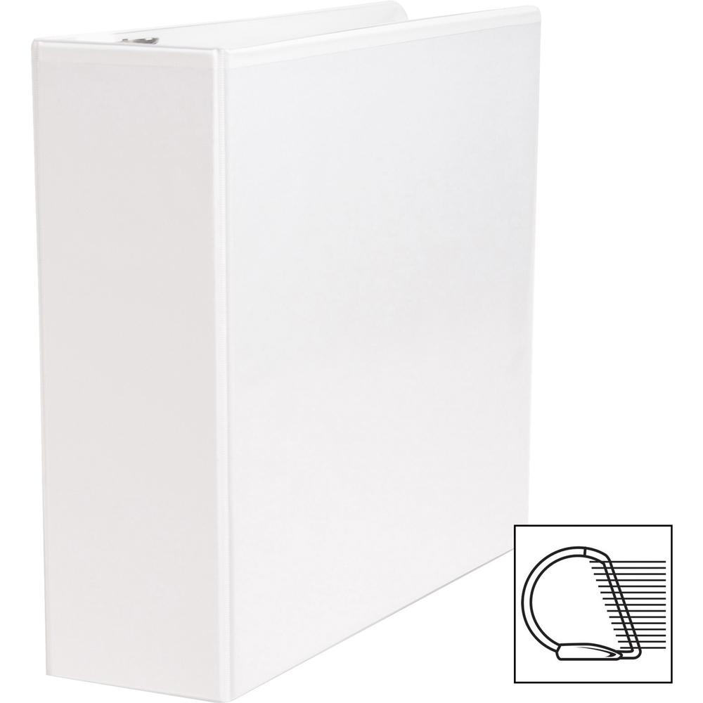 """Business Source Basic D-Ring White View Binders - 3"""" Binder Capacity - Letter - 8 1/2"""" x 11"""" Sheet Size - D-Ring Fastener(s) - Polypropylene - White - 1.70 lb - Clear Overlay - 1 Each. Picture 9"""
