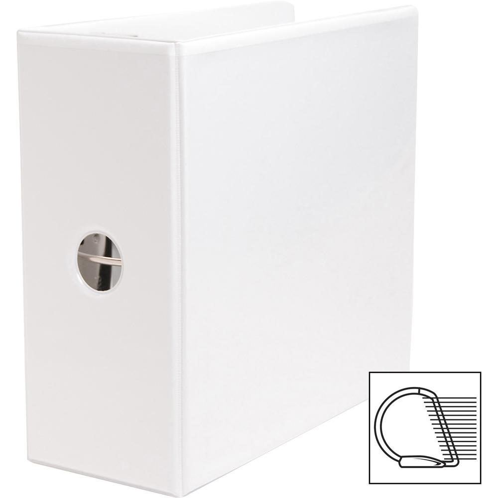 """Business Source Basic D-Ring White View Binders - 5"""" Binder Capacity - Letter - 8 1/2"""" x 11"""" Sheet Size - D-Ring Fastener(s) - Polypropylene - White - 2.10 lb - Clear Overlay - 1 Each. Picture 7"""