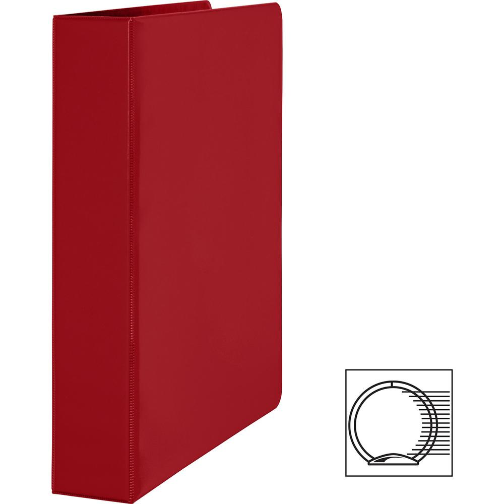 """Business Source Basic Round Ring Binders - 1 1/2"""" Binder Capacity - Letter - 8 1/2"""" x 11"""" Sheet Size - Round Ring Fastener(s) - Vinyl - Red - 1.02 lb - 1 Each. Picture 4"""