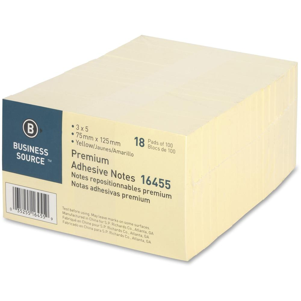 """Business Source Repositionable Notes - 3"""" x 5"""" - Rectangle - Yellow - Repositionable, Solvent-free Adhesive - 18 / Pack. Picture 7"""