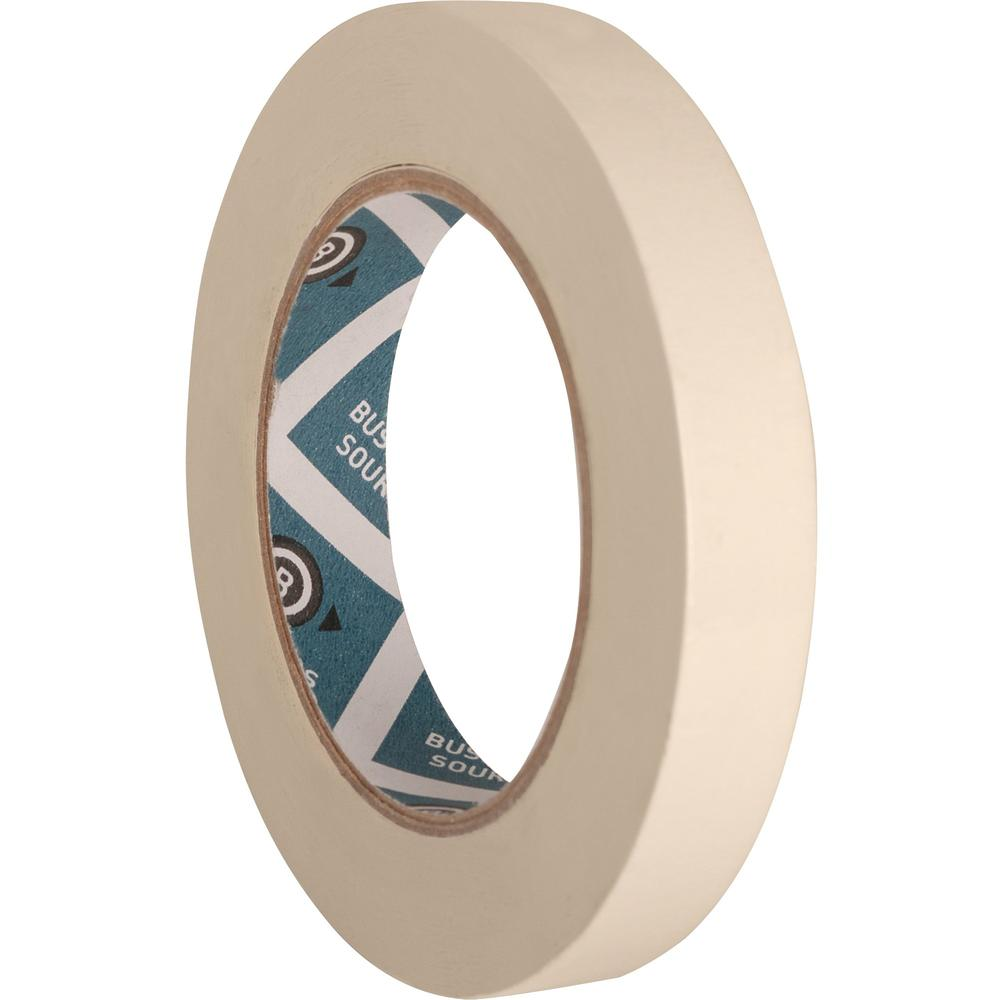 """Business Source Utility-purpose Masking Tape - 60 yd Length x 0.75"""" Width - 3"""" Core - Crepe Paper Backing - 1 Roll - Tan. Picture 2"""