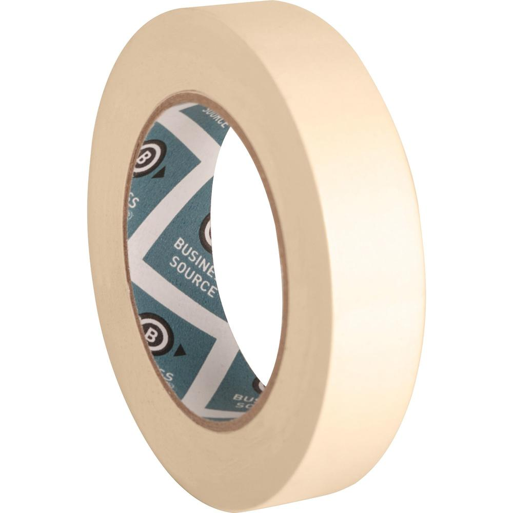 "Business Source Utility-purpose Masking Tape - 60 yd Length x 1"" Width - 3"" Core - Crepe Paper Backing - 1 Roll - Tan. Picture 4"