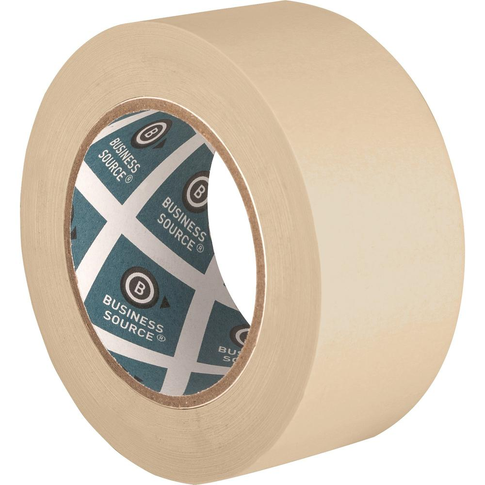 "Business Source Utility-purpose Masking Tape - 60 yd Length x 2"" Width - 3"" Core - Crepe Paper Backing - 1 Roll - Tan. Picture 2"