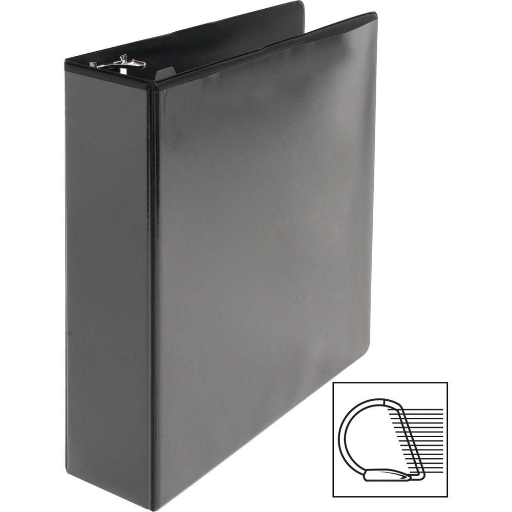 """Business Source Basic D-Ring View Binders - 2"""" Binder Capacity - Letter - 8 1/2"""" x 11"""" Sheet Size - D-Ring Fastener(s) - Polypropylene - Black - Clear Overlay - 1 Each. Picture 10"""