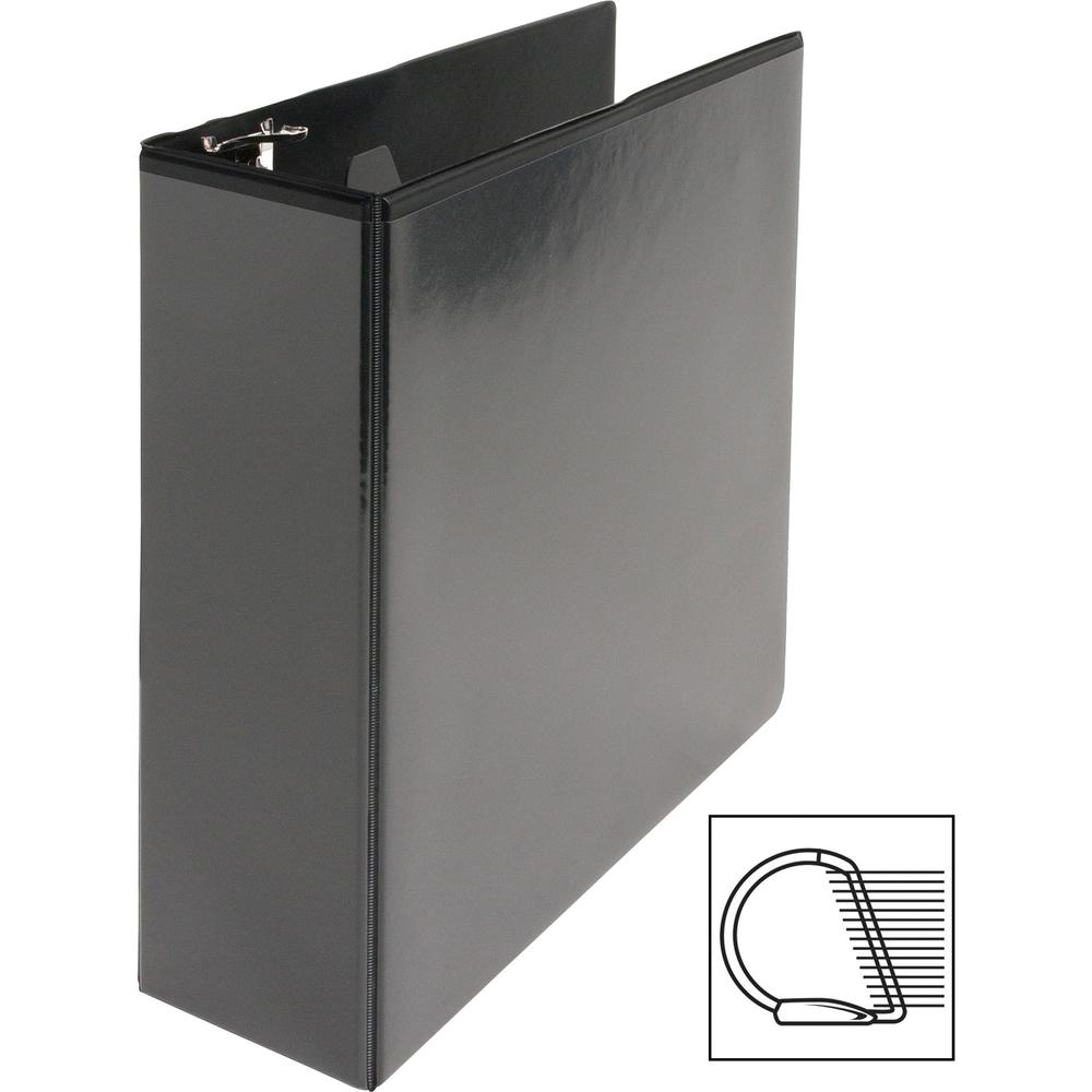 """Business Source Basic D-Ring View Binders - 3"""" Binder Capacity - Letter - 8 1/2"""" Sheet Size - D-Ring Fastener(s) - Polypropylene - Black - Clear Overlay - 1 Each. Picture 9"""