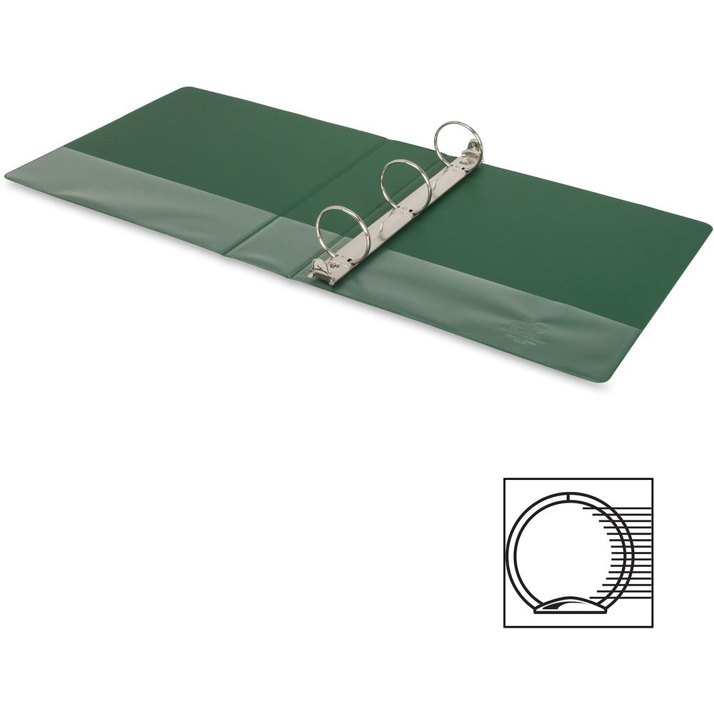 """Business Source Basic Round-ring Binder - 2"""" Binder Capacity - Letter - 8 1/2"""" x 11"""" Sheet Size - 3 x Round Ring Fastener(s) - Vinyl - Green - Open and Closed Triggers - 1 Each. Picture 13"""