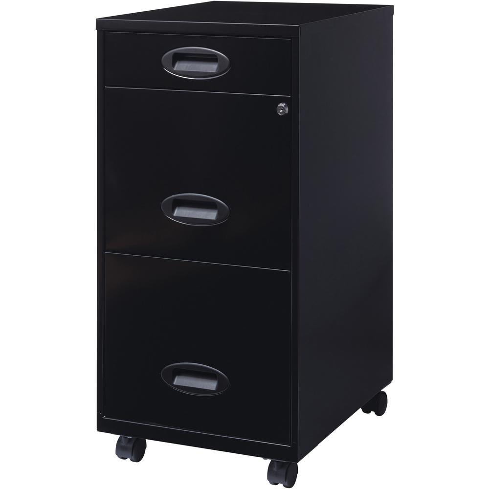 """Lorell SOHO 18"""" 3-Drawer File Cabinet - 14.3"""" x 18"""" x 27"""" - 3 x Drawer(s) for Accessories, File - Letter - Locking Drawer, Glide Suspension - Black - Baked Enamel - Plastic, Steel - Recycled - Assembl. Picture 7"""