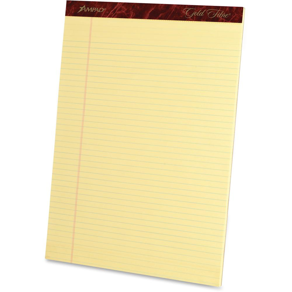 """Ampad Ampad Gold Fibre Narrow Rule Writing Pads - 50 Sheets - Watermark - Stapled/Glued - 0.25"""" Ruled - 16 lb Basis Weight - 8 1/2"""" x 11 3/4"""" - Canary Yellow Paper - Micro Perforated, Bleed-free, Chip. Picture 2"""