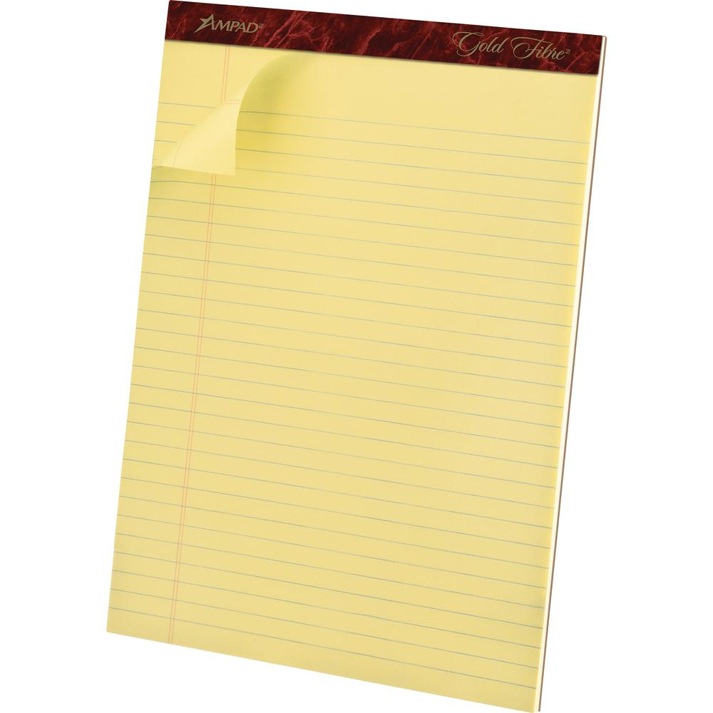 """TOPS Gold Fibre Premium Rule Writing Pads - Letter - 50 Sheets - Watermark - Stapled/Glued - 0.34"""" Ruled - 20 lb Basis Weight - 8 1/2"""" x 11"""" - Yellow Paper - Micro Perforated, Bleed-free, Chipboard Ba. Picture 4"""