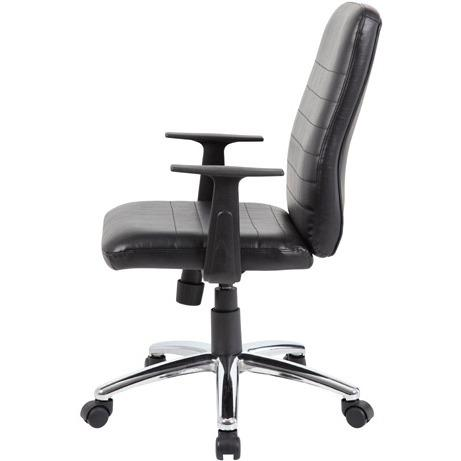 Boss B431-BK Retro Task Chair with Black T-Arms - Black Vinyl Seat - Black Vinyl Back - Chrome, Black Chrome Frame - 5-star Base - 1 Each. Picture 9