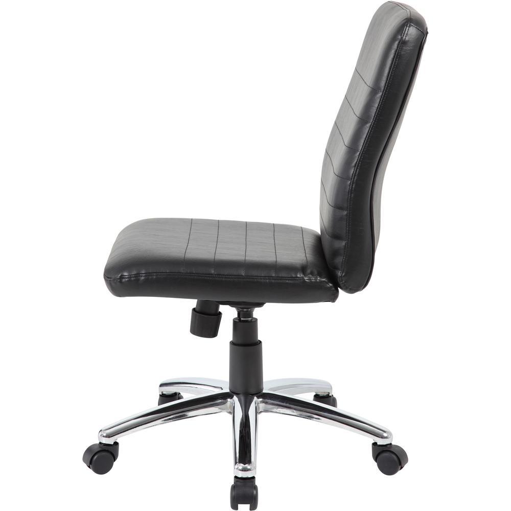 Boss B430 Task Chair - Black Vinyl Seat - Black Vinyl Back - Chrome, Black Chrome Frame - 5-star Base - 1 Each. Picture 3