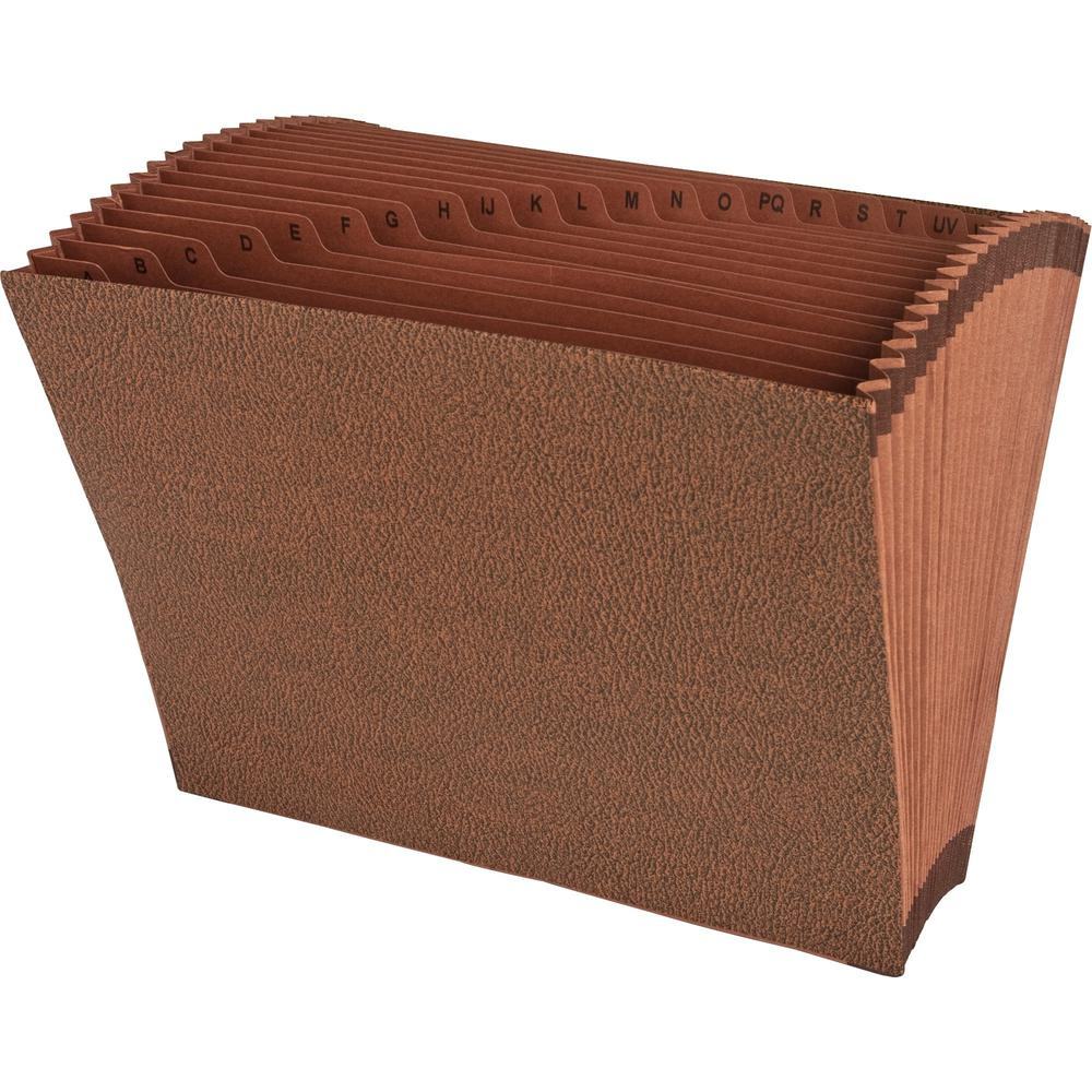 """Business Source Letter Recycled Expanding File - 8 1/2"""" x 11"""" - 21 Pocket(s) - Brown - 30% - 1 Each. Picture 4"""