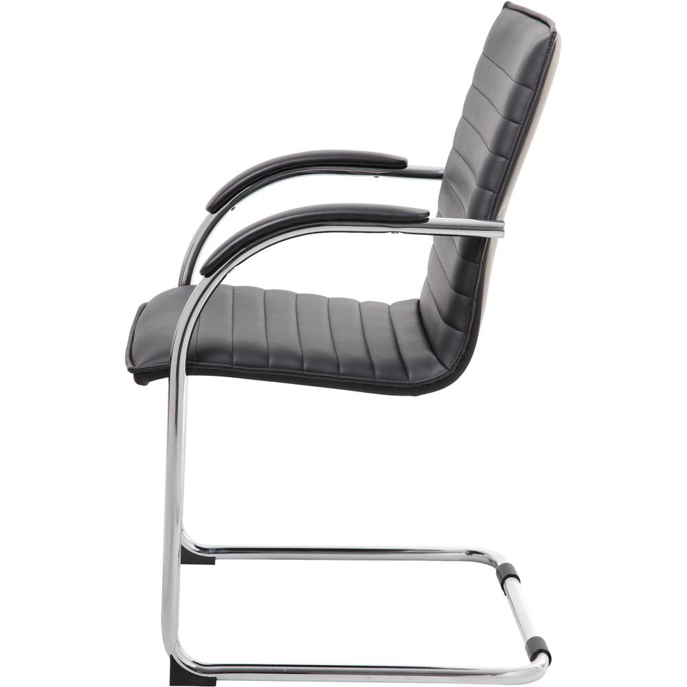 """Boss Chrome Frame, Black Vinyl Side Chair, 2 pack - Black Vinyl Seat - Black Vinyl Back - Chrome Polywood Frame - Cantilever Base - 20"""" Seat Width x 18"""" Seat Depth - 23"""" Width x 24.5"""" Depth x 37.5"""" He. Picture 6"""