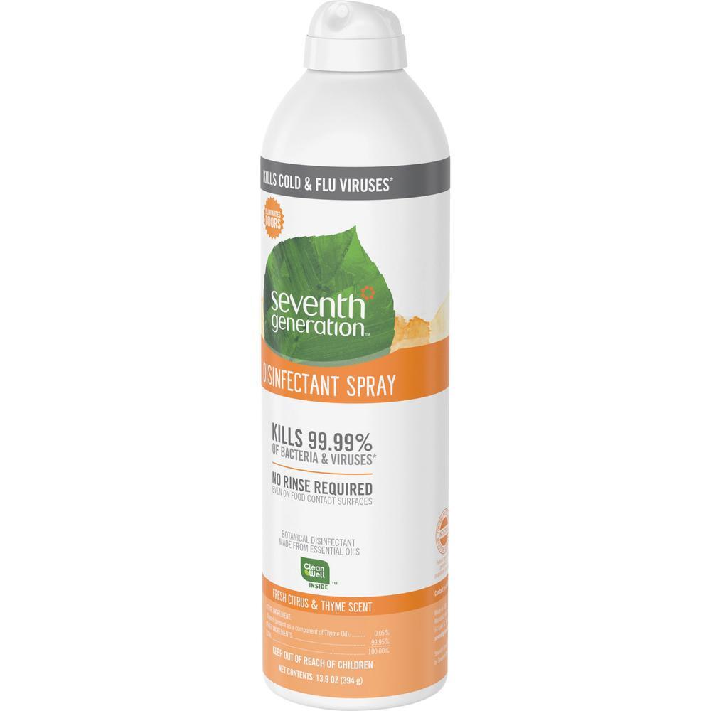 Seventh Generation Disinfectant Cleaner - Spray - 13.9 fl oz (0.4 quart) - Fresh Citrus & Thyme Scent - 8 / Carton - Clear. Picture 5