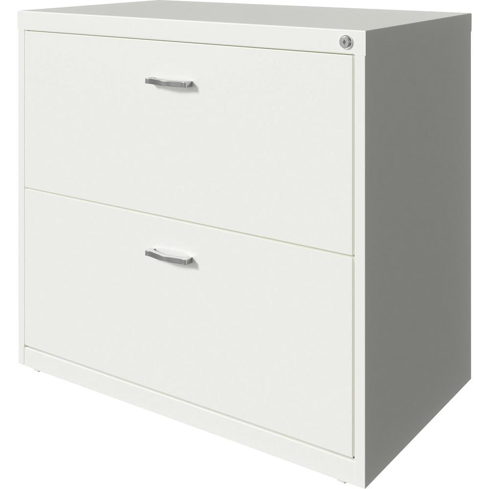 """Lorell SOHO Arc Pull Steel Lateral File - 30"""" x 17.6"""" x 27.8"""" - 2 x Drawer(s) for File - Letter - Lateral - Pull-out Drawer, Durable, Hanging Rail, Interlocking, Anti-tip Locking, Ball-bearing Suspens. Picture 4"""