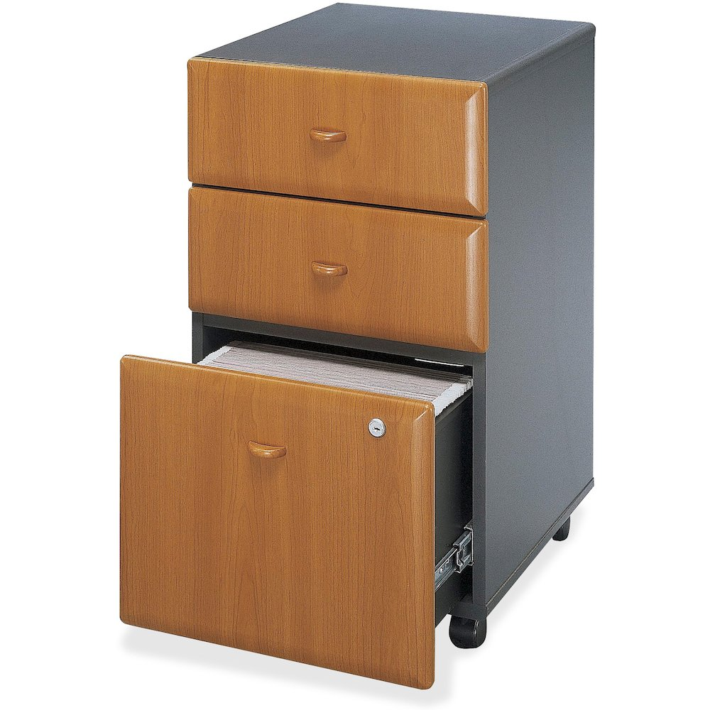 "Bush Business Furniture Series A 3 Drawer Mobile Pedestal - Assembled - 15.5"" x 20.3"" x 28.2"" - 3 x File Drawer(s) - Material: Pressboard, Melamine, Hardwood, Engineered Wood, Wood - Finish: Laminate,. Picture 3"