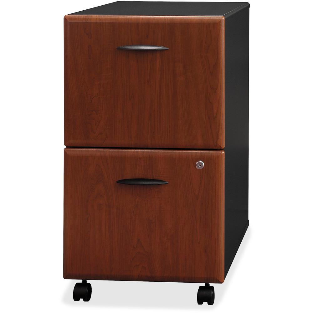 Bush Business Furniture Series A 2 Drawer Mobile File Cabinet, Assembled, Hansen Cherry/Galaxy. Picture 8