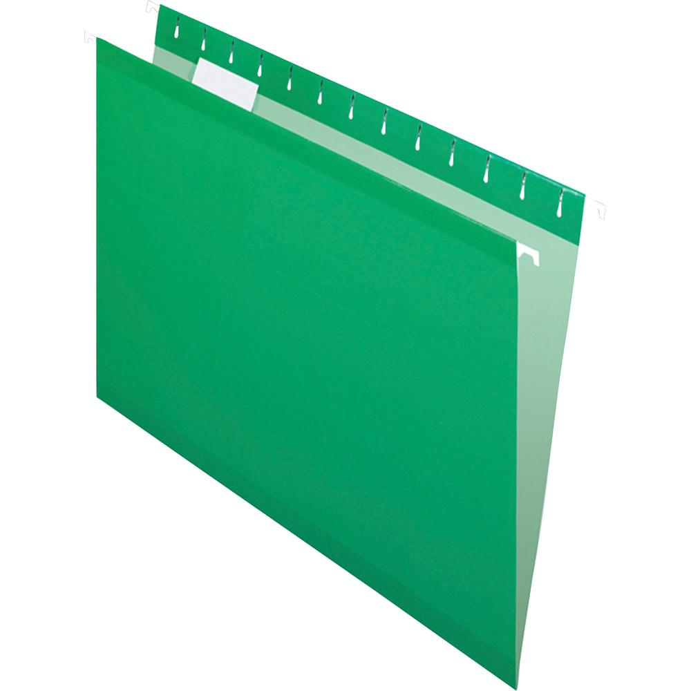 """Pendaflex 1/5 Tab Cut Letter Recycled Hanging Folder - 8 1/2"""" x 11"""" - Bright Green - 10% - 25 / Box. Picture 3"""