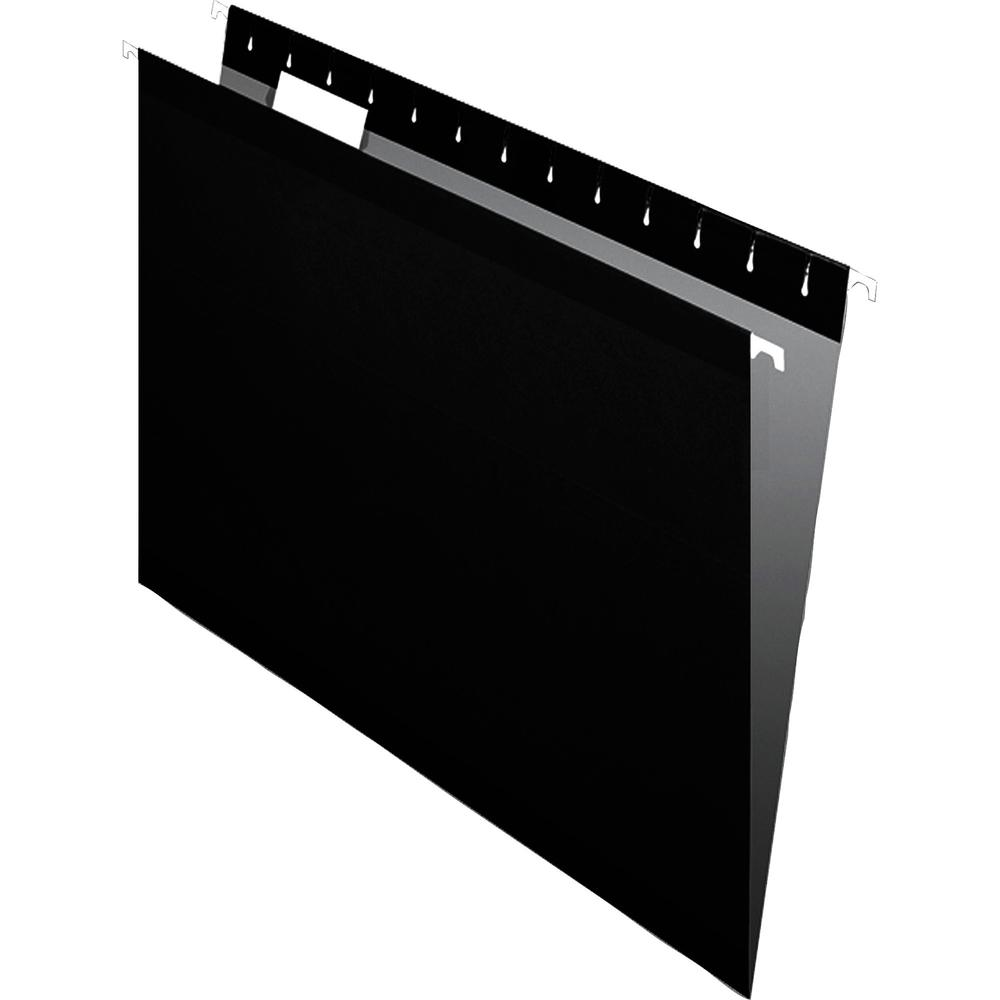 "Pendaflex 1/5 Tab Cut Letter Recycled Hanging Folder - 8 1/2"" x 11"" - Black - 10% - 25 / Box. Picture 2"
