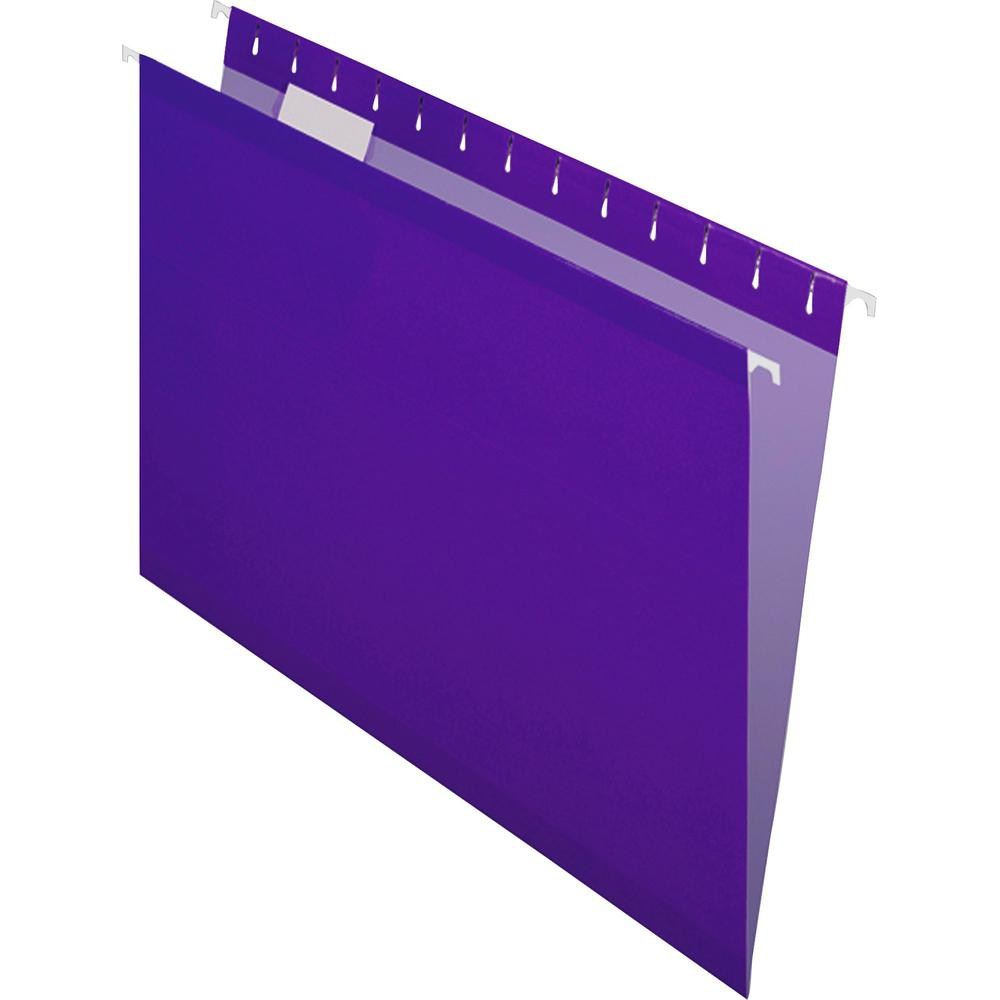 """Pendaflex 1/5 Tab Cut Letter Recycled Hanging Folder - 8 1/2"""" x 11"""" - Violet - 10% - 25 / Box. Picture 3"""
