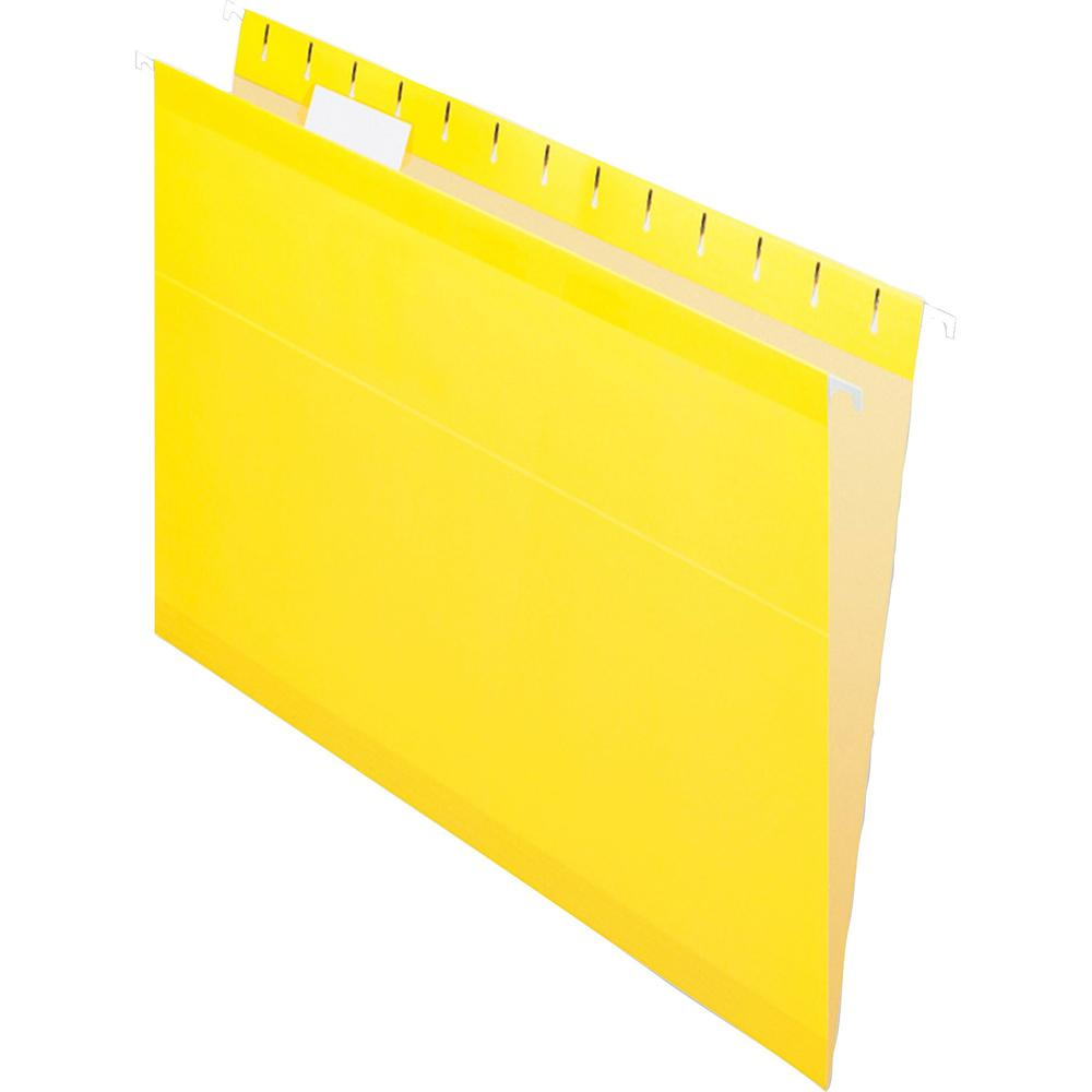 """Pendaflex 1/5 Tab Cut Letter Recycled Hanging Folder - 8 1/2"""" x 11"""" - Yellow - 10% - 25 / Box. Picture 3"""