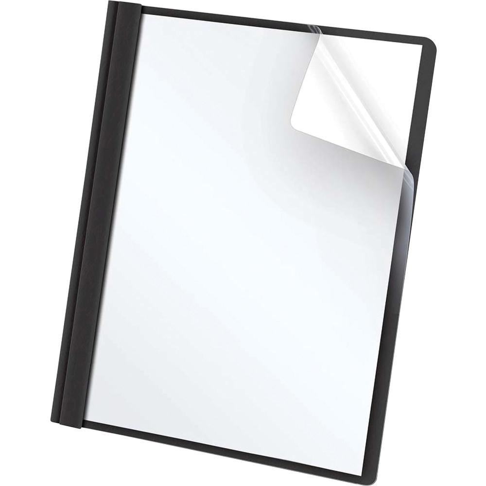 """Oxford Letter Report Cover - 8 1/2"""" x 11"""" - 100 Sheet Capacity - 3 x Tang Fastener(s) - 1/2"""" Fastener Capacity for Folder - Leatherette - Black, Clear - 25 / Box. Picture 2"""