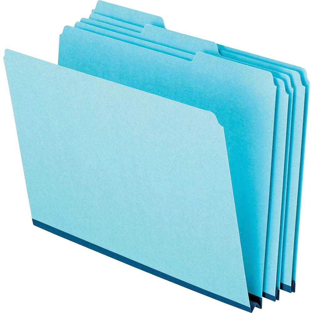 """Pendaflex 1/3 Tab Cut Letter Recycled Top Tab File Folder - 8 1/2"""" x 11"""" - 1"""" Expansion - Ring Fastener - Top Tab Location - Assorted Position Tab Position - Pressboard - Blue - 60% - 25 / Box. Picture 3"""