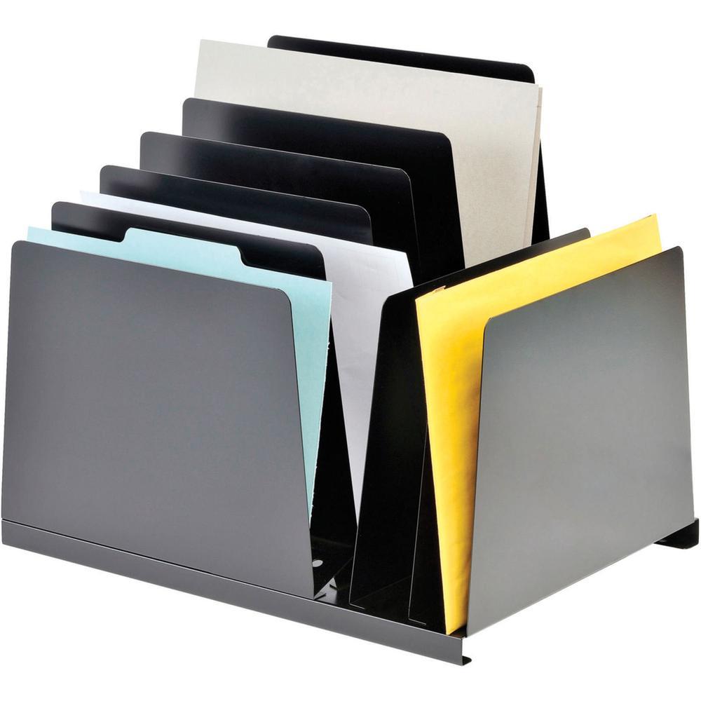 "MMF Combination Vertical Slant File - 8 Compartment(s) - 12.8"" Height x 15.3"" Width x 11"" Depth - Desktop - Chip Resistant, Non-skid Base, Scratch Resistant - 20% - Black - Steel - 1 Each. Picture 5"