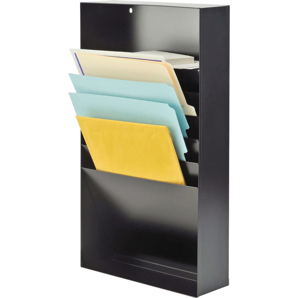 """MMF Desk Drawer Stationery Rack - 10 x Envelope, 10 x Memo Pad - 5 Compartment(s) - 3.8"""" Height x 11.4"""" Width x 21"""" Depth - Non-skid Base, Chip Resistant, Scratch Resistant - 20% - Black - Steel - 1 E. Picture 2"""