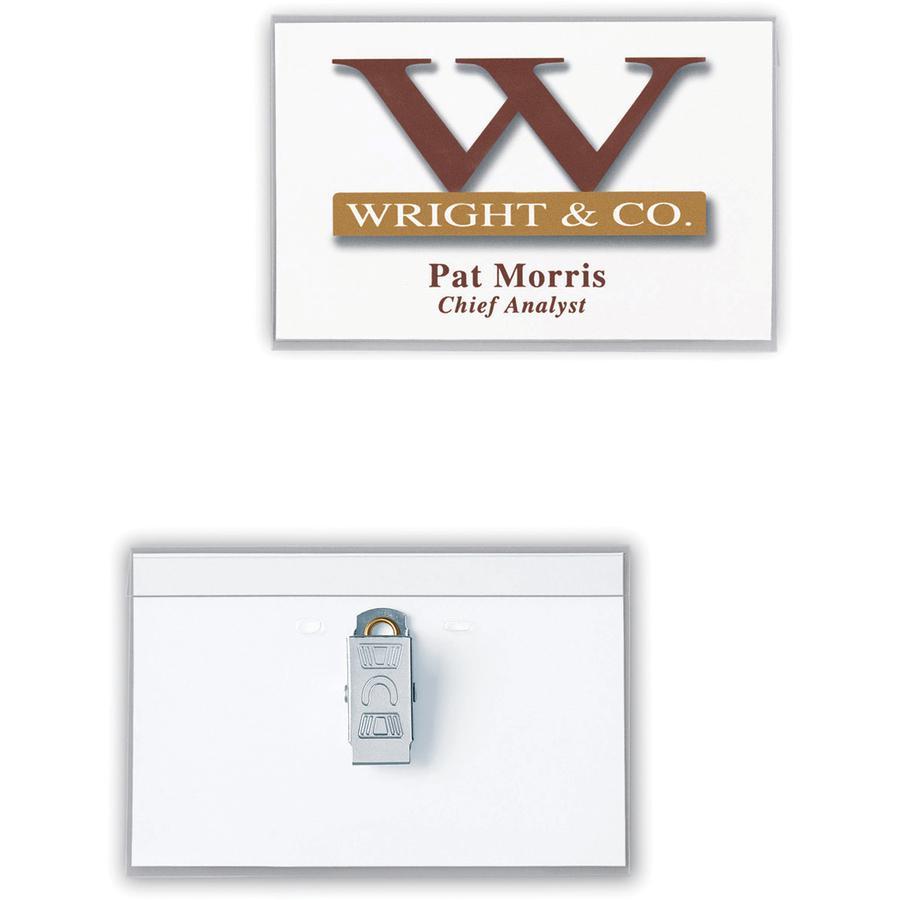 Avery® Laser, Inkjet Laser/Inkjet Badge Insert - White, Clear - 40 / Box - Printable. Picture 3