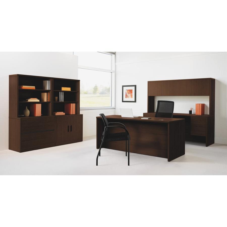 """HON 10500 Series Left Credenza, 72""""W - 2-Drawer - 72"""" x 24"""" x 29.5"""" - 2 x Box Drawer(s), File Drawer(s) - Single Pedestal on Left Side - Square Edge - Material: Wood - Finish: Laminate, Mahogany. Picture 6"""