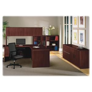 "HON 10700 Series Left-Pedestal Credenza - 72"" x 24"" x 29.5"" - 2 x File Drawer(s) - Single Pedestal on Left Side - Waterfall Edge - Material: Wood - Finish: Laminate, Mahogany. Picture 3"